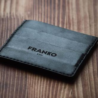 Черная кожаная визитница Franko black Small cardholder