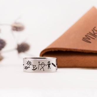 Дизайнерское кольцо с гравирокой наскального узора, ювелирная сталь
