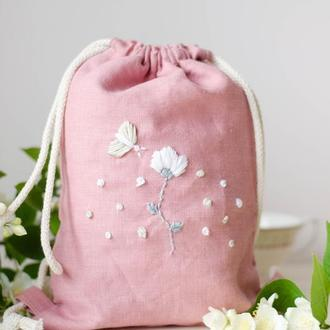 Детский льняной рюкзак