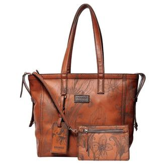 Шкіряна коричнева сумка тоте Franko Nata flowers brown Tote