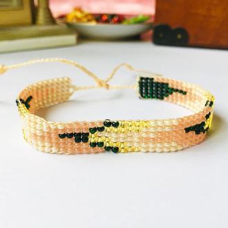 Бежевый бисерный браслет, браслет из бисера с геометрическим узором, фенечка из бисера