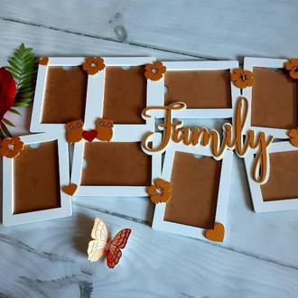 Фоторамка Family совушки цветы и сердечки 73х50 см