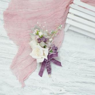 Бутоньерка с сухоцветами. Сиренево-молочная