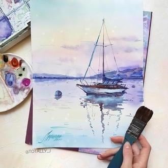 Картина акварелью пейзаж Закат с яхтой