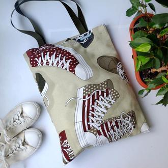 Эко сумка для покупок с кедами, сумка пакет, эко торба, молодежная сумка шоппер