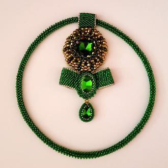 Колье GREEN из бисера и кристаллов