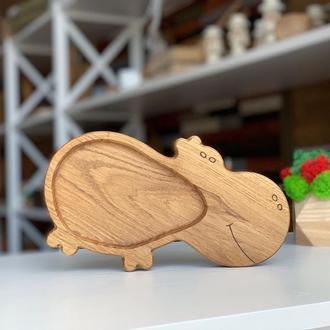 Детская тарелочка из натурального дерева