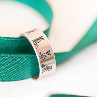 Элегантное кольцо с гравировкой лисы оригами из ювелирной стали