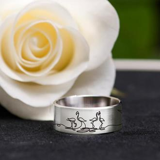 Кольцо с рисунком в стиле one line фламинго, нержавеющая сталь