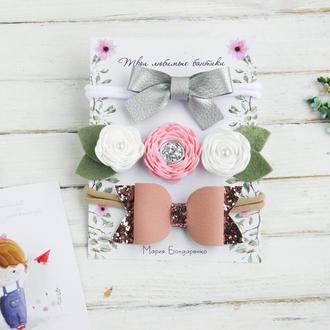 Красивые повязки для малышки на день рождения / Детский веночек с цветами для малышки