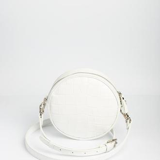 Круглая сумка LUNA CROCO white