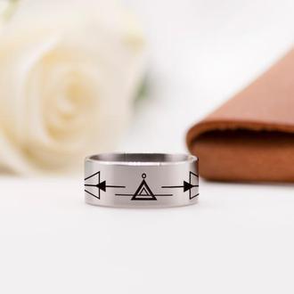 Минималистичное стальное кольцо с геометрическим узором
