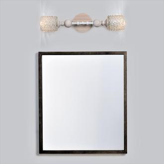 Светильник настенный бра из массива ясеня, металла и винтажного хрустального абажура