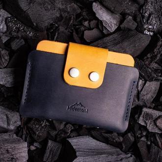 Кожаный мини-кошелек с клапаном на двух прочных кнопках в Темно-синем цвете 0035