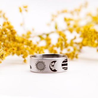 Стальное кольцо с планетами, медицинская сталь