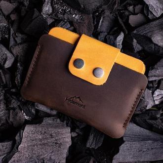 Кожаный мини-кошелек с клапаном на двух прочных кнопках в Коричневом цвете 0035