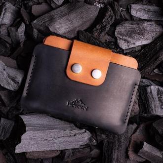 Кожаный мини-кошелек с клапаном на двух прочных кнопках в Черном цвете 0035
