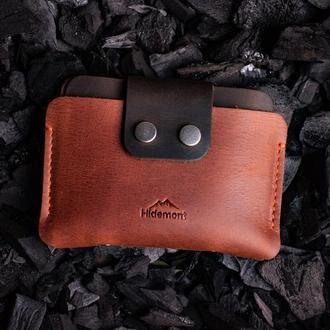 Кожаный мини-кошелек с клапаном на двух прочных кнопках в Коньячном цвете 0035