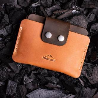 Кожаный мини-кошелек с клапаном на двух прочных кнопках в Рыжем цвете 0035