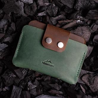 Кожаный мини-кошелек с клапаном на двух прочных кнопках в Зеленом цвете 0035