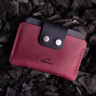 Кожаный мини-кошелек с клапаном на двух прочных кнопках в Бордовом цвете 0035