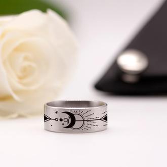 Уникальное кольцо с гравировкой Солнце и Луна, медицинская сталь