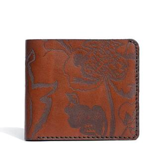 Коричневе портмоне Franko Kozak flowers brown Medium wallet з натуральної шкіри