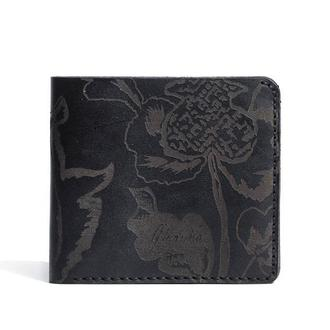 Черное портмоне Franko Kozak flowers black Medium wallet из 100% натуральной кожи