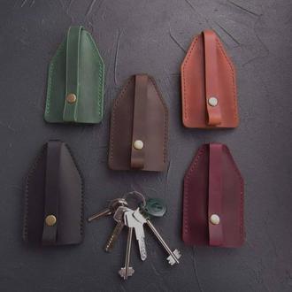 Ключница из винтажной кожи на 7 ключей_карманная кожаная ключница