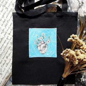 """Эко-сумка с  росписью """"Сердце в ромашках"""""""
