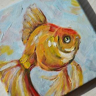 """Мини картина маслом """"Золотая рыбка"""""""