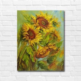 """Картина маслом """"Солнечные цветы"""" 45х35 см, холст на подрамнике, масло"""