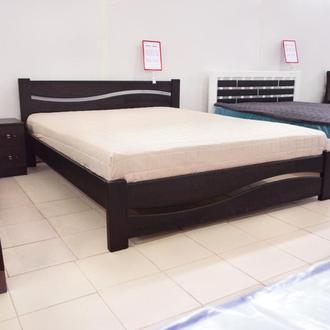 Кровать Деревянная Волна 140х200см. массив Сосны цвет Темный Орех