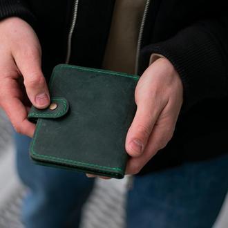 Обложка для паспорта 2 в 1 из натуральной кожи зеленый