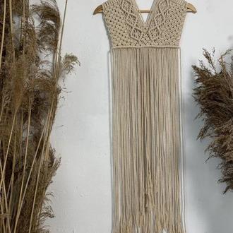 Панно макраме в форме платья