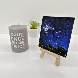 Миниатюра маслом ночной город, Синий магнит на подставке, Декор для стола