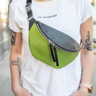 Поясная сумка бананка / Twixy / Зелено-черный