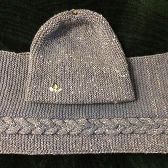 вязаные шапочка-бини и снуд
