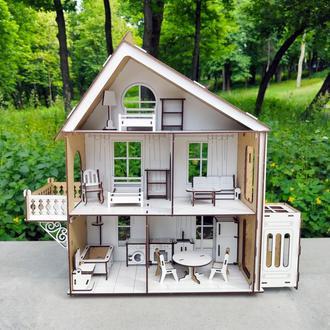 Деревянный кукольный Домик DaBo Home для LOL c мебелью и лифтом