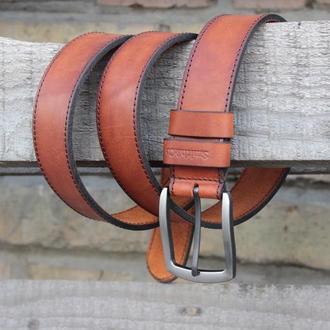 Кожаный мужской ремень Furioso, Джинсовый широкий ремень, 38 мм. Коричневый