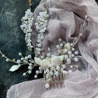 комплект украшений для невесты гребень серьги