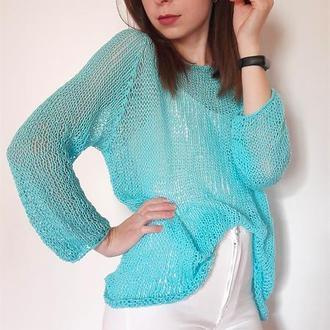 Летний свитерок бирюза из 100% хлопка