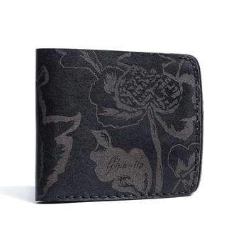 Черный кошелек Franko Kozak flowers black Big wallet из натуральной кожи