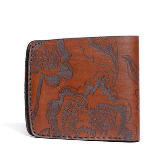 Коричневое портмоне Franko Kozak flowers brown Big wallet из натуральной кожи