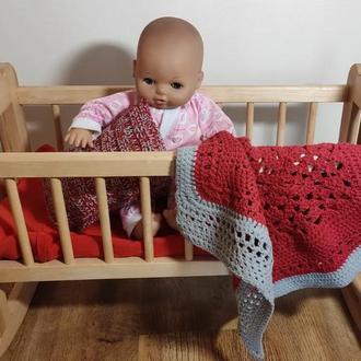 Комплект вязаного постельного белья для куклы Baby Born