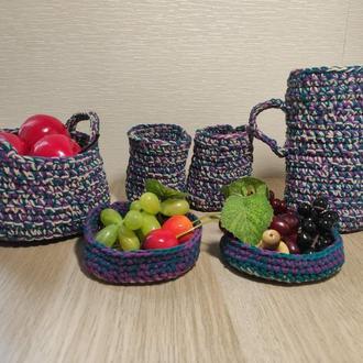 Игровой набор вязаной посуды