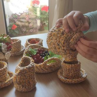 Игровой набор вязаной посуды для чайной церемонии