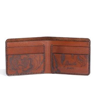 Коричневе шкіряне портмоне Franko Kozak flowers brown Small wallet