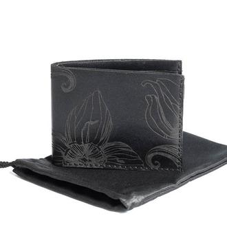 Черное портмоне Franko Nata flowers black Small wallet из натуральной кожи
