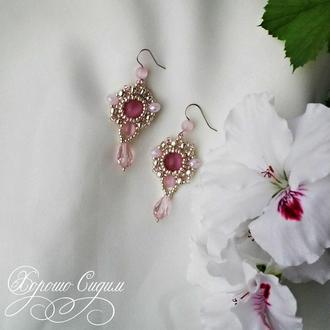 Серьги Розовый лед